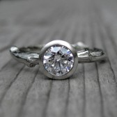 Reserved: Round Forever Brilliant Moissanite Twig Engagement Ring (.5ct)