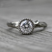 Round Forever Brilliant Moissanite Twig Engagement Ring; Beaded Bezel (.5ct)