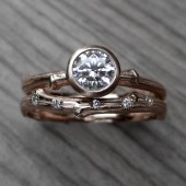 Diamond Twig Engagement & Wedding Ring Set (.50ct VS2/H, & Diamond Band)