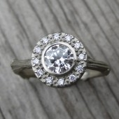Reclaimed Diamond Halo Twig Engagement Ring (.50ct Center)