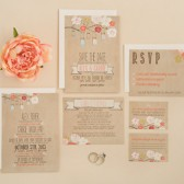 Wedding Invitation Suite DEPOSIT - DIY, Rustic, Kraft, Jars, Floral, Bohemian, Printable, Custom, Barn, Shanty Chic (Wedding Design #6)