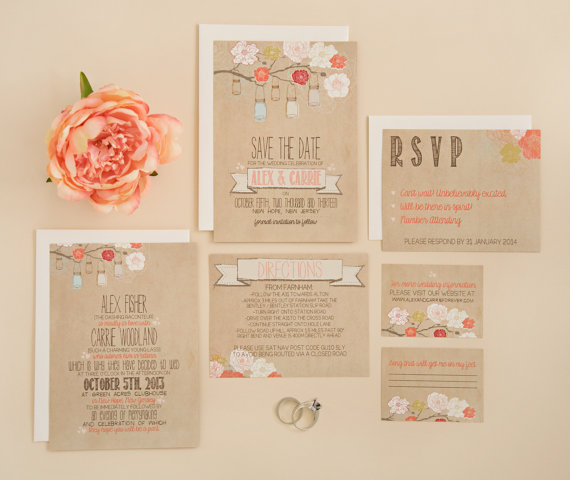 Wedding Invitation Suite Deposit Diy Rustic Kraft Jars Floral