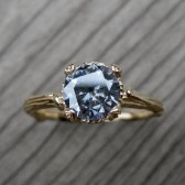 Grey Moissanite Twig Engagement Ring, Carved Floral Setting (1ct)