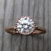 Round Forever Brilliant Moissanite Twig Engagement Ring; Beaded Bezel (1ct)