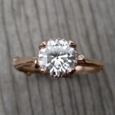 Round Forever Brilliant Moissanite Twig Engagement Ring, Hexagon Setting (.5ct)