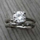 Forever Brilliant Moissanite Twig Engagement & Scattered 7 Diamond Band
