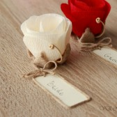 Flower place card holders with name tags