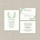 Bohemian Wedding Invitation Suite DEPOSIT, DIY, Rustic, Boho Chic, Drawn, Printable, Custom, Watercolor, Olive Branch (Wedding Design #68)