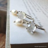 Moonstone and Pearl Earrings in Sterling Silver