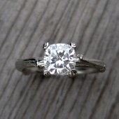 Cushion Forever Brilliant Moissanite Twig Engagement Ring (1.1ct)