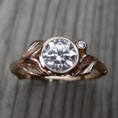 Round Forever Brilliant Moissanite Twig & Leaf Engagement Ring with Bud (.8ct)