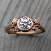 Round Diamond Twig & Leaf Engagement Ring, VS1/H (.70ct)