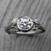 Round Diamond Twig & Leaf Engagement Ring, VS2/G (.75ct)
