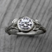 Round Forever Brilliant Moissanite Twig & Leaf Engagement Ring (.8ct)