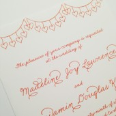 Festive Orange Heart Banner Wedding Invitations