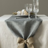 Gray Burlap Table Runner w/ 2 pieces Brown Burlap Bows
