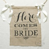 Burlap Here Comes The Bride Sign with Ivory Ribbon