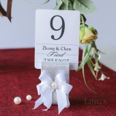 Silver Glitter Table Number Holders With Satin Ribbon