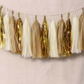 15pcs Tissue Paper Tassels Garland, Mixed 3 Colors(Kraft+Ivory+Metallic Gold)