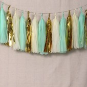 15pcs Tissue Paper Tassels Garland, Mixed 3 Colors(Robin's Egg Blue+Ivory+Metallic Gold)