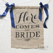 Burlap Here Comes The Bride Sign with Navy Blue Ribbon