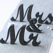 Black Glitter Mr & Mrs Sign