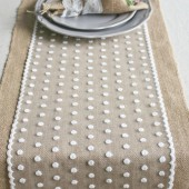 Burlap Table Runner w/ Polka Dot Lace