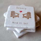 Personalized Adirondack Chair Wedding Favor Coasters