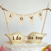 Wedding cake toppers and LOVE banner
