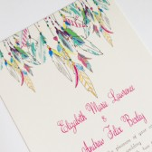 Whimsical Feather Wedding Invitation
