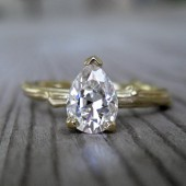 Pear Moissanite Twig Engagement Ring