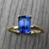 Emerald Cut Blue Sapphire Twig Engagement Ring, Cultured (1.25ct)