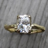 Radiant Forever Brilliant Moissanite Twig Engagement Ring, Carved Floral Setting (1.2ct)