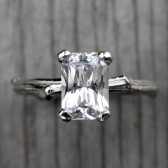 Radiant White Sapphire Twig Engagement Ring (1ct)