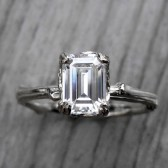 Emerald Cut Forever Brilliant Moissanite Twig Engagement Ring, Carved Floral Setting (1ct)