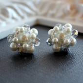 Sophia White Pearl Vintage Cluster Earrings