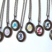 8 Embroidery Monogram Bridesmaid Locket Necklaces, Vintage Monogrammed Personalized Bridesmaids Gifts, Antique Bronze Bridesmaid Jewelry