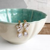 Yellow Gold Post Bridal Earrings. Bridesmaid Earrings. CZ Gold Bridal Earrings. Wedding Earrings