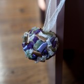 Purple, Green and Ivory Aisle Decor, Pew Decor, Ribbon Pomander