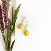 Mustard Yellow and Aqua Earrings in Gold