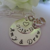 Wedding Date Personalized Couples Names Necklace Hand Stamped Sterling Silver