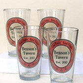 Personalized Tavern Pint Glass Set, unique groomsmen gift
