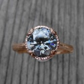 Grey Moissanite Twig Engagement Ring, Carved Floral Setting (2ct)