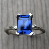 Emerald Cut Blue Sapphire Twig Engagement Ring, Cultured (2.15ct)