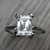 Emerald Cut Forever Brilliant Moissanite Twig Engagement Ring (1.75ct)