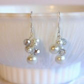 Caroline White Pearl Bridal Dangle Earrings