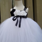 black and white flower girl tutu dress