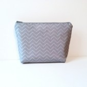 Grey Zig Zag Chevron Cosmetic Clutch