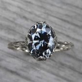 ・OLIVIA・ OVAL ICONIC™ DARK GREY MOISSANITE, WILLOW LEAVES (2.1CT)