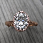 Oval Forever Brilliant Moissanite Twig Engagement Ring, Carved Floral Setting (2.1ct)